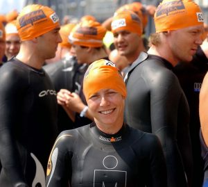 London Triathlon, London Docklands. Jane Tomlinson is pictured before the start of her Triathlon. 2004